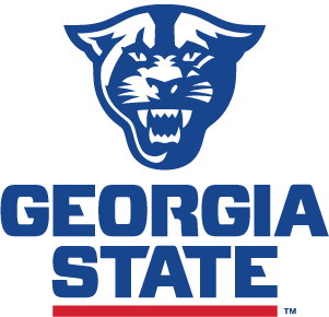 Georgia State Athletics Logo: Blue roaring panther head over blue text reading GEORGIA STATE, underlined with red.