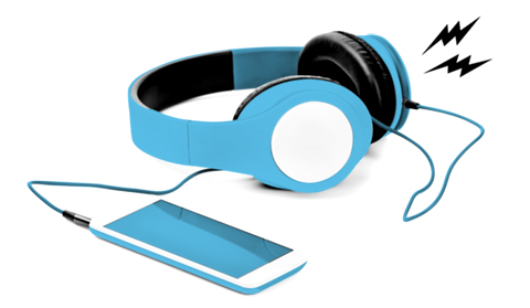 Listen - WRAS Album 88 - Black, white and blue headphones emitting black lightning bolts while connected to a smartphone.