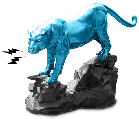 Black, white and blue photo of a statue of a panther standing on a rock. Black lightning bolts are coming from its mouth.