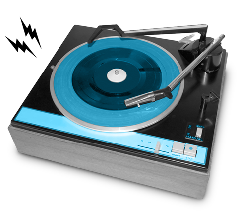 Black, white and blue photo of a retro turntable emitting black lightning bolts.