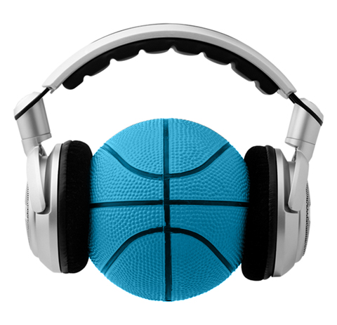 Black, white and blue photo of headphones being worn by a basketball.